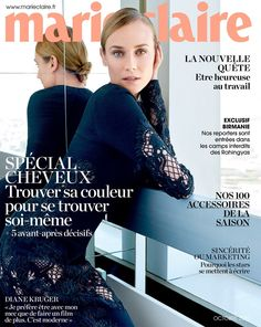 Diane Kruger Pose on Marie Claire Magazine France October 2015 cover Photoshoot