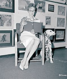Lisa Davis (model and voice of Anita Radcliffe) and Frank Thomas (model for Roger Radcliffe and animator) at Walt Disney Animation Studios with the dogs that were used as models for 101 Dalmatians.