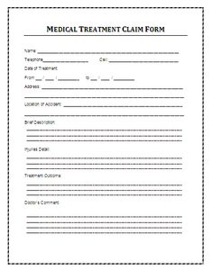 Examples Of Patient Medical Charts Sample Medical Treatment Claim Form: A medical treatment claim form is ...