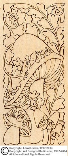 Mushroom Doodles Pyrography Project  #1 (lesson 16, page 1) beginning of project