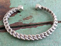 Vintage Danish 826 Silver Heavy Chain Cuff Bracelet Signed VC by Holliezhobbiez on Etsy