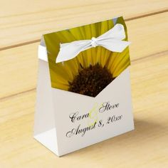 Sunflower Bride and Groom Wedding Favor Boxes