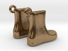 Boots Earrings in Raw Brass