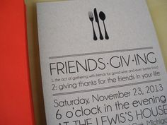Friendsgiving invitations/Thanksgiving invitations orange envelopes, kraft paper - Vivian Elle Invitations