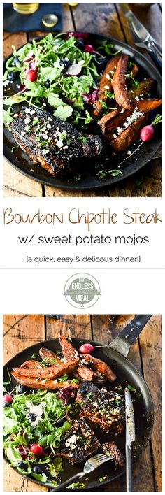 Bourbon Chipotle Steak with Sweet Potato Mojos :: a quick and easy paleo dinner that is super delicious :: theendlessmeal.com