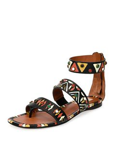 Hand-Painted Studded Flat Sandal, Nero/Multi by Valentino at Neiman Marcus.