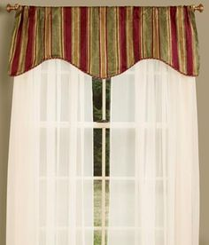 Hearthwood Stripe Lined Scalloped Valance with Corded Trim