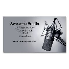 studio microphone Double-Sided standard business cards (Pack of 100). Make your own business card with this great design. All you need is to add your info to this template. Click the image to try it out!