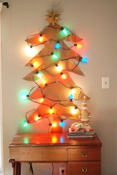 Cute, looks like a paper tree with lights attached. Easy & Creative.