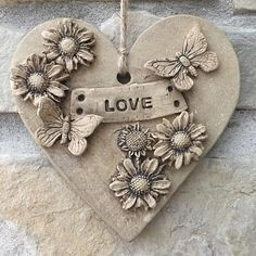 Your place to buy and sell all things handmade : Hand built ceramic hanging plaque For indoor or outdoor use Dimensions Clay Art Projects, Ceramics Projects, Clay Wall Art, Hand Built Pottery, Clay Ornaments, Paperclay, Hanging Hearts, Heart Ornament, Pottery Designs