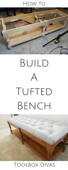 DIY how to build an elegantly tufted bench from scratch. Free Build plans. Woodworking. Interior design. build a bench #DIY @Toolboxdivas #bench #tufted bedside bench grey tufted bench for bedroom or entry #tuftedbenchdiy #woodworkingplans