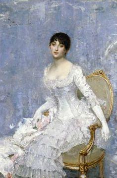 ▴ Artistic Accessories ▴ clothes, jewelry, hats in art - Paul César Helleu | Femme en Blanc, c. 1880