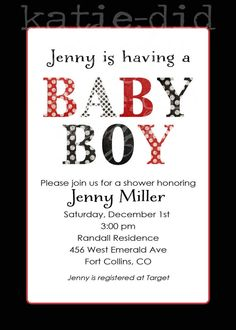 baby boy shower invite red white and black polka by katiedidesigns, $13.00