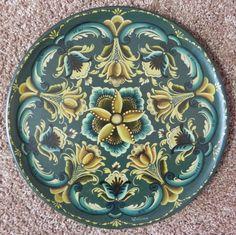 rosemaling   Green Rosemaling Platter   Wanda's Works