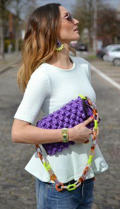 #MMissoni | Purple #raffia effect bag with #multicolored #plexiglass shoulder strap | Summer 2014 Collection #musthave #itbag | Lima's Wardrobe: Mint Peplum