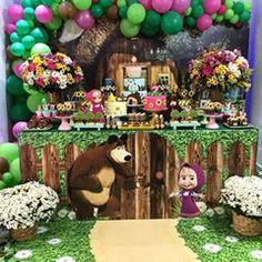 Marsha e o urso❤ #festamarshaeourso #carollyra #carolartes #festademenina 2nd Birthday Party Themes, Baby Birthday Cakes, Bear Birthday, Birthday Table, Cake Table Decorations, Birthday Decorations, Marsha And The Bear, Sofia Party, Bear Decor