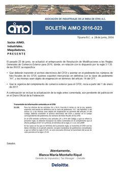 BOLETÍN AIMO 2016-023: DELOITTE. | Complemento CFDI de comercio exterior. Conoce todos nuestros boletines en nuestra pagina WEB   http://www.aimoac.com/#!boletines/a450d