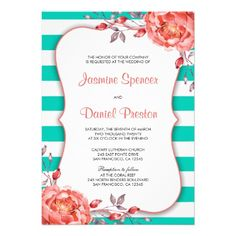 Coral And Turquiose Wedding Invitation Template. Change the turquoise stripes by setting the background to another color!