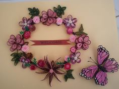 QuillTime - beautiful quilled flower welcome wreath and butterfly