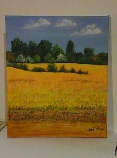 "Created by: Kovácsné Sz. Éva -Rape  on the way to ""Merzse marsh"" -  acrylic, 20x30 cm wallboard."