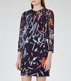 Maye Indigo/multi Printed Dress - REISS