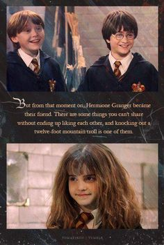 Hermione, Ron and Harry after knocking out a mountain troll. Harry Potter Quotes, Harry Potter Love, Harry Potter Universal, Harry Potter Fandom, Harry Potter World, Hp Quotes, People Quotes, Book Quotes, Hogwarts