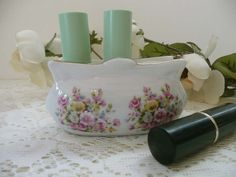 Pretty Vintage Floral Porcelain Lipstick Holder For Vanity - Shabby Chic Or Cottage Chic by MossyCottage on Etsy