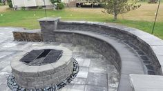 Cambridge Pavingstones with ArmorTec makes it easy to find and install your perfect fire pit. Check out more colors and styles today!  Contractor: KD Hardscapes