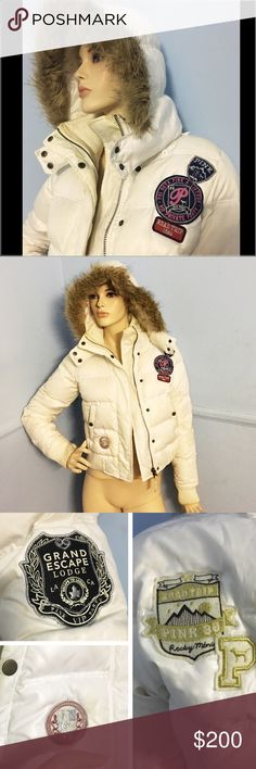 Victoria Secret White Patchwork Puffer Hood Jacket Very Rare Victoria Secret White Patchwork Bomber Puffer Jacket  Features  -A detachable hood -Amazing Patches -Warm Puffer Style -Amazing Comfort The Jacket has stains and will need to be taken to a Professional Cleaners The Listing Victoria Secret Jacket includes more pictures PINK Victoria's Secret Jackets & Coats Puffers