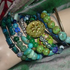 Boho Stacking Bracelet Set Blues and Greens by SeagoddessEclectica, $55.00