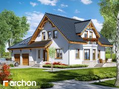 gotowy projekt Dom w tamaryszkach 2 Rural House, Bungalow House Plans, Contemporary House Plans, Modern House Plans, Small Country Homes, One Storey House, Self Build Houses, Three Bedroom House Plan, Duplex House Design