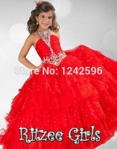 Halter Pageant Dresses For Girls Glitz Red Puffy Organza Crystal Beading Floor Length Little Girls Ball Gown Kids Evening Dress