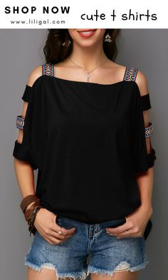 Sewing Blusas Black Ladder Cutout Sleeve T Shirt Beautiful Outfits, Cool Outfits, Casual Outfits, Fashion Outfits, Womens Fashion, Shirt Refashion, T Shirt Diy, Clothing Hacks, Blouse Designs
