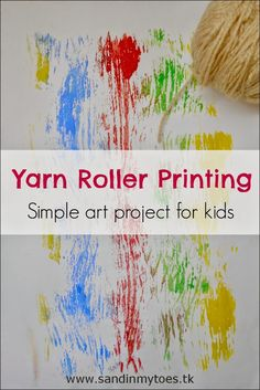 Simple yarn printing art project for kids.
