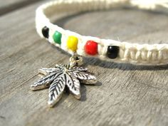 Rasta Hemp Bracelet with Cannabis Leaf Charm