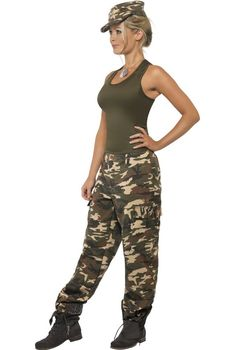 Get your troops in line wearing this funky women's camouflage army costume by Smiffy's. Great quality adult army fancy dress costume at a great price! Get down and dirty in this sexy army girl costume at your next defense forces costume party! See below for full description and size details.