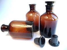 Old Pharmacy Bottle Brown Glass Vintage by PortugueseWonders, $20.00