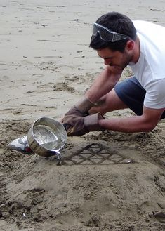 Pewter melted and casted in the sand to make a stool.  Video can been seen here: http://vimeo.com/9498805  His website can be found here: http://maxlamb.org/126-pewter-desk/