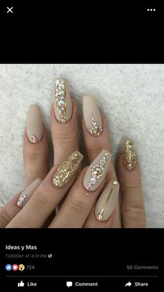 Beige and gold coffin long nails
