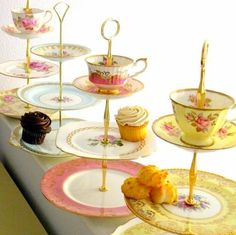 3 tiered stands made from tea cups, saucers & plates.