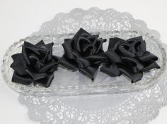 Black Ribbon Rose Flowers Sew On Hand Made for Crafts Felt Back Wedding Bridal Supply Table Decor, Black, (Set of 3)