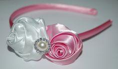 White Pink Bridesmaid Headband Rolled Satin Rose by tweeterj, $9.50