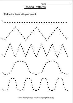 Children need lots and lots of pencil practice to develop the fluid fine motor control necessary for handwriting.  Tracing over various patterns is the starting point for this. Tracing over these p…
