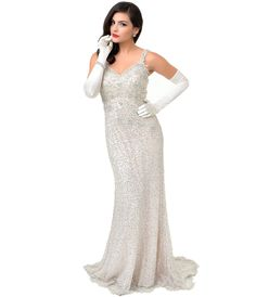 d9206c93daf47 1930s Style Silver   Nude Lace Fitted Sequin Evening Gown Sequin Evening  Gowns