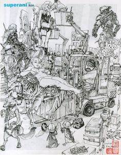 Kim Jung Gi is a South Korean artist known for his detailed drawings made without photographic reference. Kim Jung Gi is a South Korean artist known f. Comic Manga, Comic Art, Junggi Kim, Drawing Sketches, Drawings, Sketching, Tinta China, Artist Alley, Kim Jung