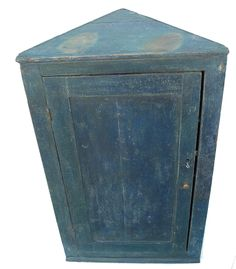 Y78 Early 19th century pine blue painted Hanging Corner Cupboard , circa 1840 - 1850 Country Treasures American Country Antiques Preston, Maryland