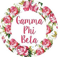 "Amazon.com: Gamma Phi Beta 3"" Circle White Rose Monogram Sticker: Toys & Games"