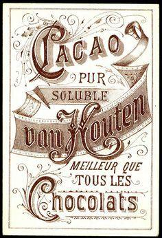 "Vintage Labels Van Houten Tradecard - back - Van Houten Chocolate ~ back of the ""Two Children"" card Vintage Packaging, Vintage Labels, Vintage Ephemera, Vintage Cards, Vintage Paper, Vintage Signs, Images Vintage, Vintage Pictures, Vintage Prints"