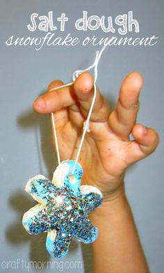 Salt Dough Snowflake Glitter Ornaments #Christmas Craft For Kids | CraftyMorning.com