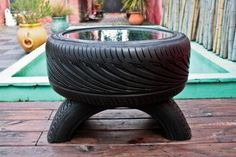 coffee table for the moto lover.  This would be great in a garage bar!